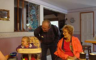 Alivia, fifth-generation of opal mine Wilsons, with great-grandparents Harry and Joy